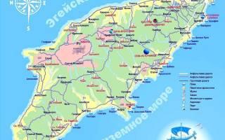 Остров Родос достопримечательности на карте